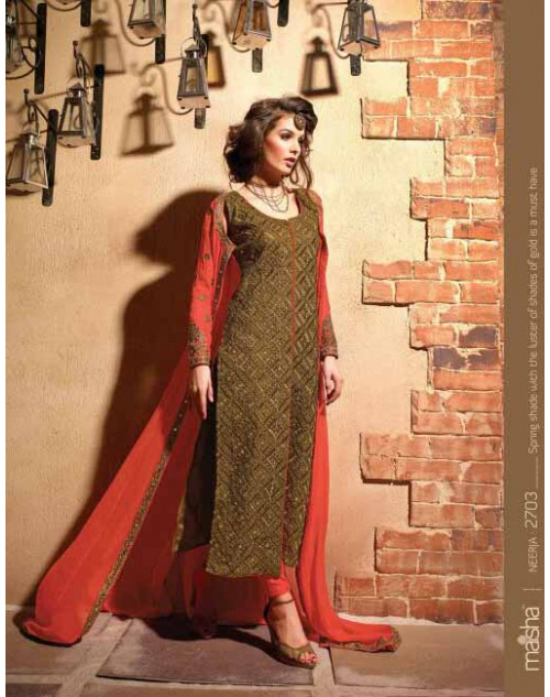 Designer Orange Georgette Salwar Kameez