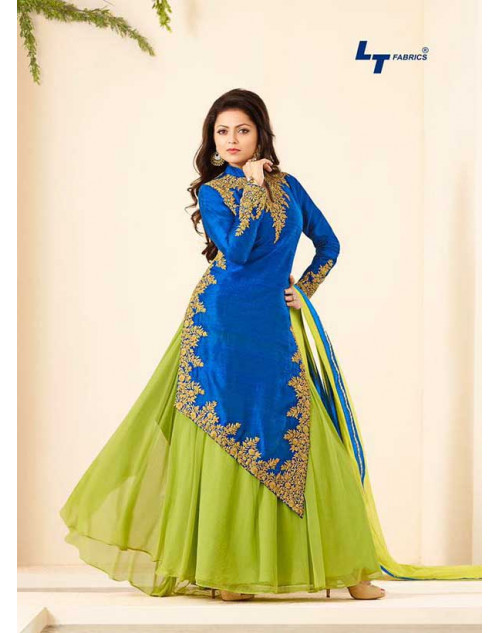 Madhubala as Drashti Dhami RoyalBlue and LightGreen Banglore Silk Salwar Kameez