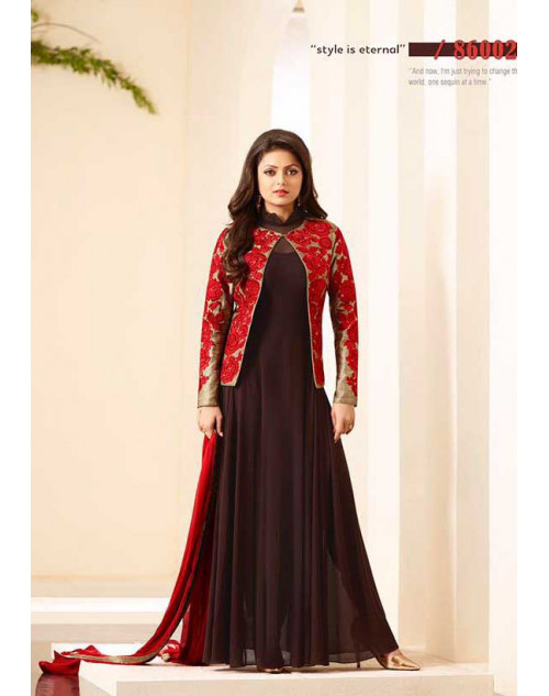 Madhubala as Drashti Dhami Brown Jute Silk Salwar Kameez