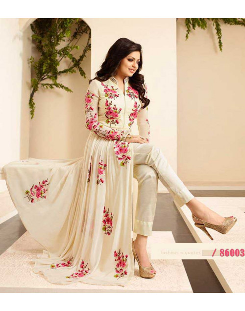 Madhubala as Drashti Dhami Cream and LightPink Vaishnavi Georgette Salwar Kameez