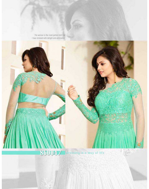 Madhubala as Drashti Dhami SeaGreen and Cream Net And Georgette Salwar Kameez