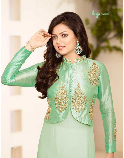 Madhubala as Drashti Dhami LightGreen Pure Silk Salwar Kameez