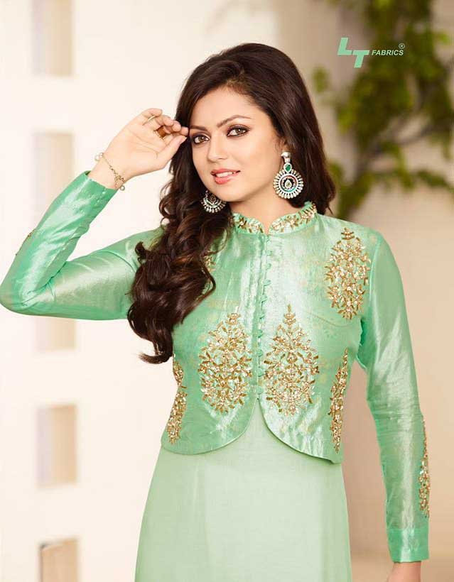 as Drashti Dhami LightGreen Pure Silk Salwar Kameez
