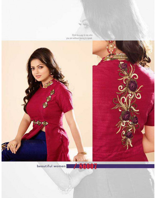 Madhubala as Drashti Dhami Magenta And NavyBlue Pure Silk Salwar Kameez