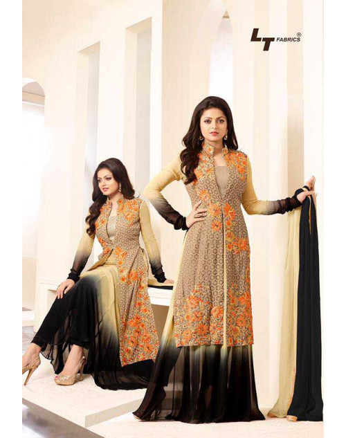 Madhubala as Drashti Dhami Cream and Black Georgette Salwar Kameez