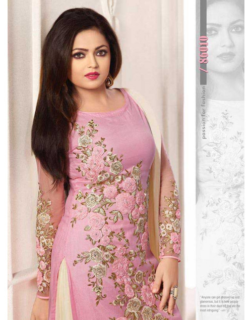 Madhubala as Drashti Dhami LightPink and Cream Net Salwar Kameez