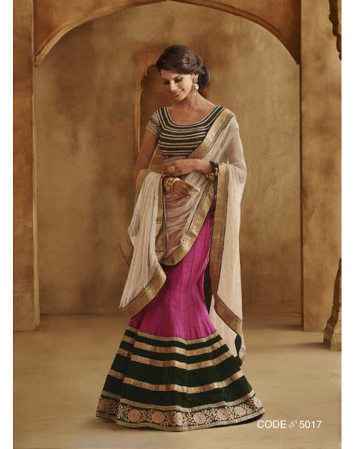 Heavy Pink And Black Georgette Lehenga Choli