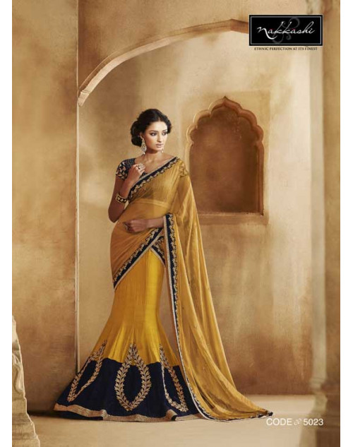 Heavy Blue And Yellow Georgette Lehenga Choli