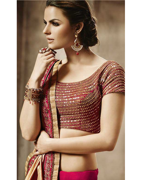 Heavy Gold And Red Bhagalpuri Silk Lehenga Choli