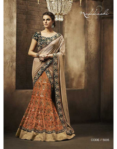 Heavy Cream And Orange Dupion Lehenga Choli