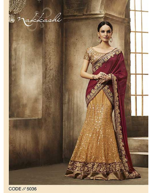 Heavy Yellow And Brown Chiffon Lehenga Choli