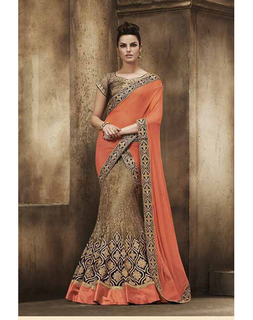 Heavy Peach And Cream Chiffon Lehenga Choli