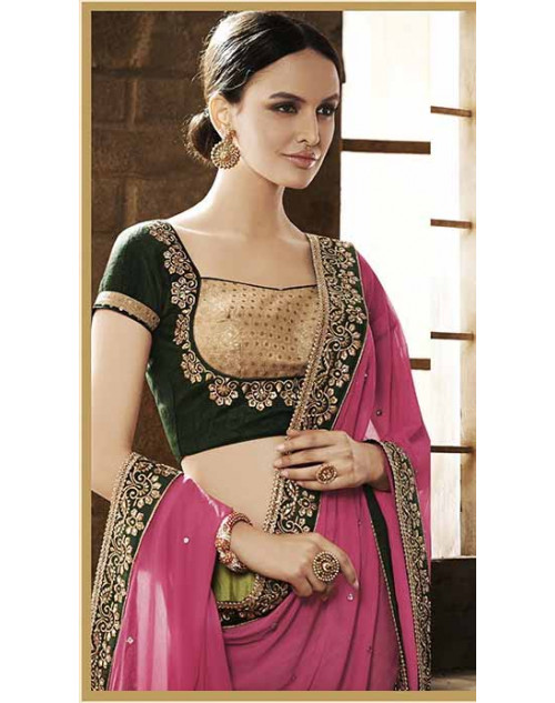 Heavy Pink And Green Chiffon Lehenga Choli