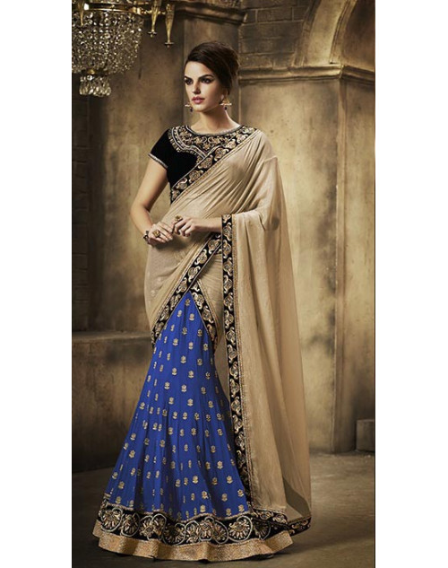 Heavy Blue And Cream Georgette Lehenga Choli