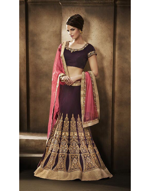 Heavy Peach And Brown Georgette Lehenga Choli
