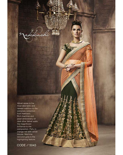 Heavy Green And Orange Georgette Lehenga Choli