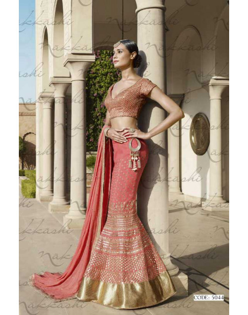 Heavy Peach Georgette Lehenga Choli