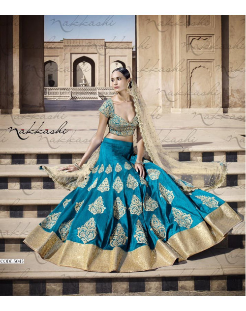 Heavy Royal Blue Bhagalpuri Silk Lehenga Choli