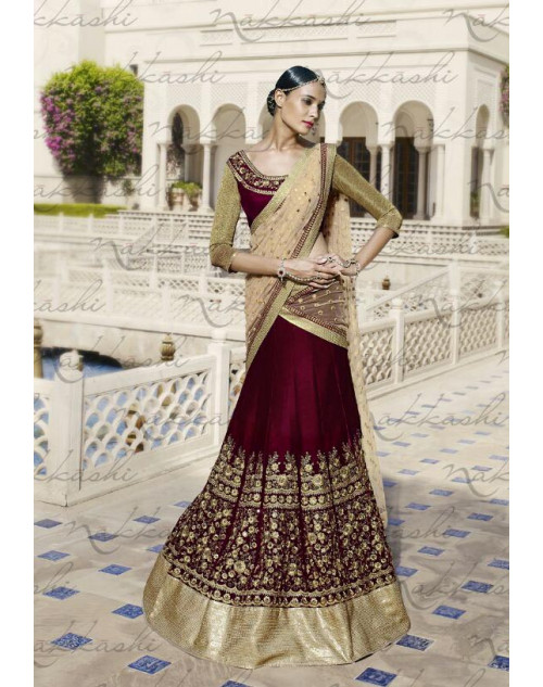 Heavy Brown Net Lehenga Choli