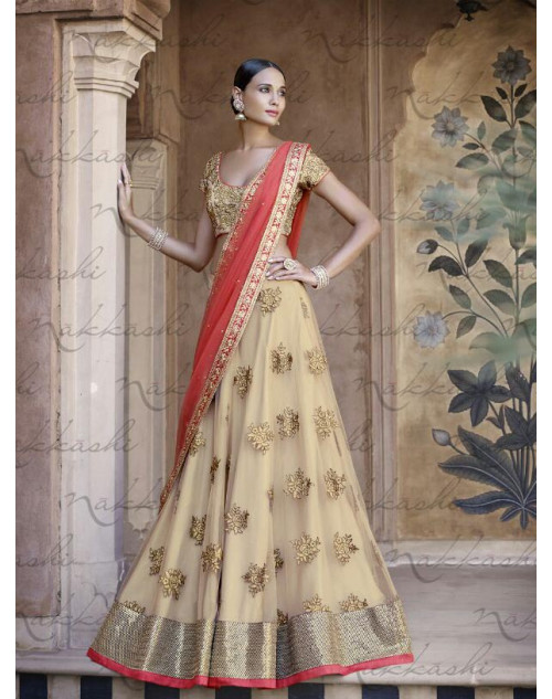 Heavy Peach And Cream Fuschia Net Lehenga Choli