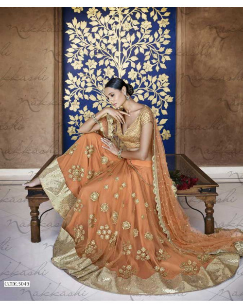 Heavy Light Orange Net Lehenga Choli