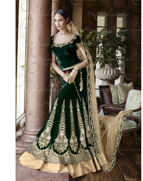 Heavy Dark Green Net Lehenga Choli