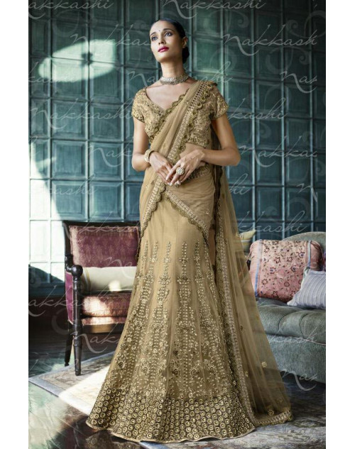 Heavy Cream Net Lehenga Choli
