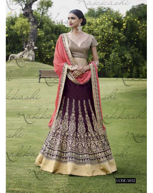 Heavy Brown And Peach Georgette Lehenga Choli