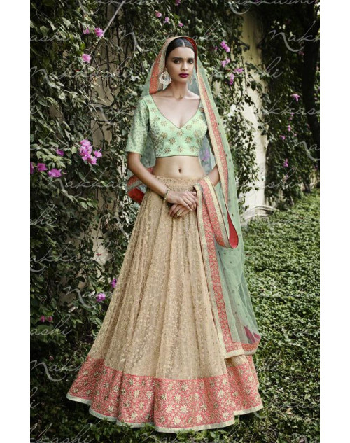 Heavy SeaGreen And Cream Georgette Lehenga Choli