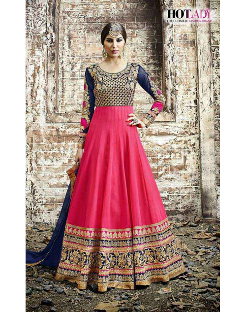 Hot Lady Pink And Blue Georgette Salwar Kameez