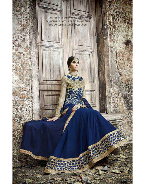 Hot Lady Blue And Grey Georgette Salwar Kameez