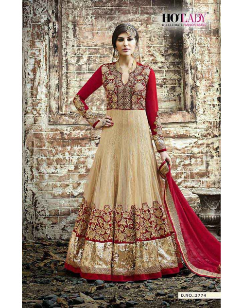 Hot Lady Beige And Maroon Georgette Salwar Kameez