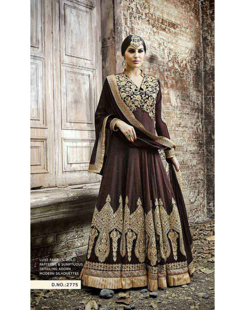 Hot Lady Brown Georgette Salwar Kameez