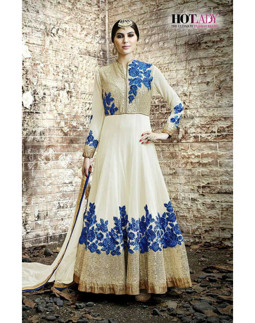 Hot Lady Cream Georgette Salwar Kameez