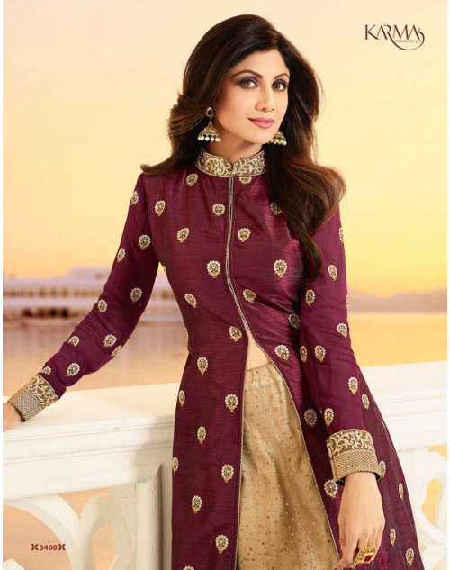Shilpa Shetty Maroon And Cream Raw Silk Floor Length Salwar Kameez