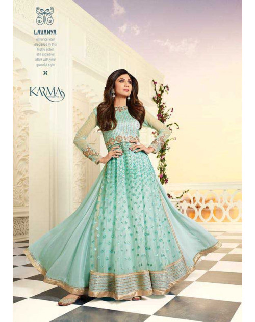 Shilpa Shetty Aqua Net and Raw Silk Floor Length Salwar Kameez