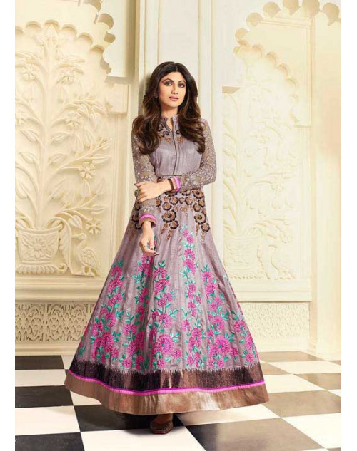 Shilpa Shetty Grey And Purple Raw Silk Floor Length Salwar Kameez