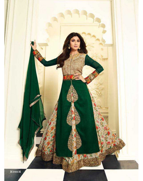 Shilpa Shetty Green Raw Silk Floor Length Salwar Kameez