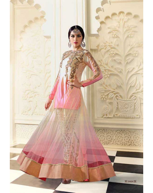 Shilpa Shetty Cream and Light Pink Net Floor Length Salwar Kameez