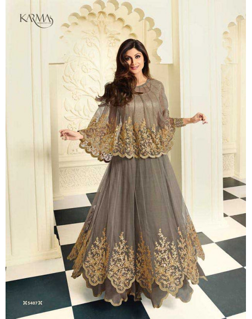 Shilpa Shetty Grey Net Floor Length Salwar Kameez