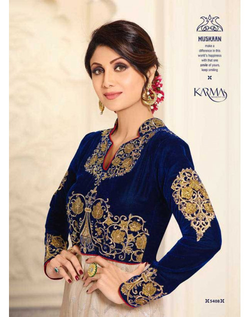Shilpa Shetty Blue And Cream Net and Raw Silk Floor Length Salwar Kameez