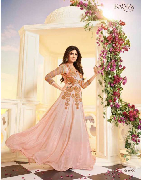 Shilpa Shetty Light Orange Satin Floor Length Salwar Kameez