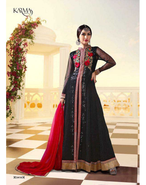 Shilpa Shetty Black Georgette Floor Length Salwar Kameez
