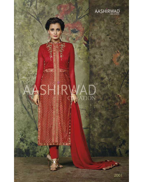 Dia Mirza Red Faux Georgette Designer Dress Materials