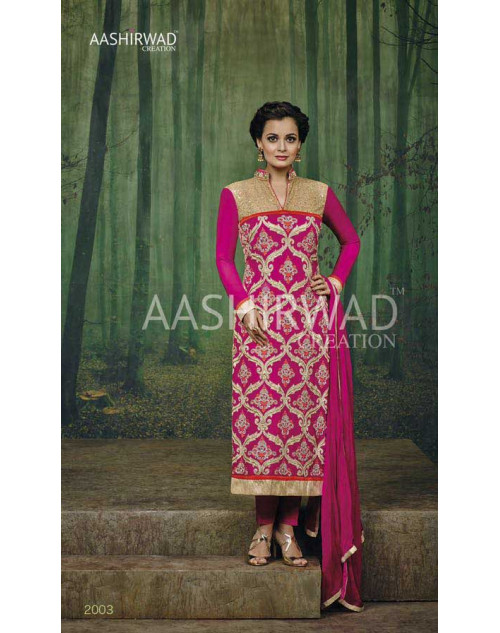 Dia Mirza Pink Faux Georgette Designer Dress Materials