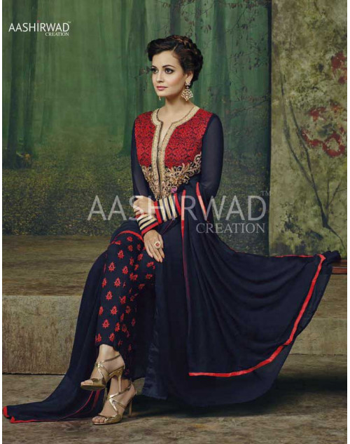 Dia Mirza Navy Faux Georgette Designer Dress Materials