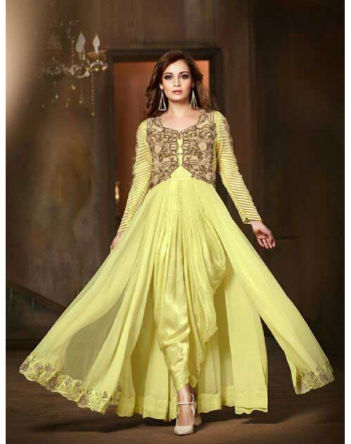Dia Mirza Yellow Pure Viscose Georgette And Net Salwar Kameez