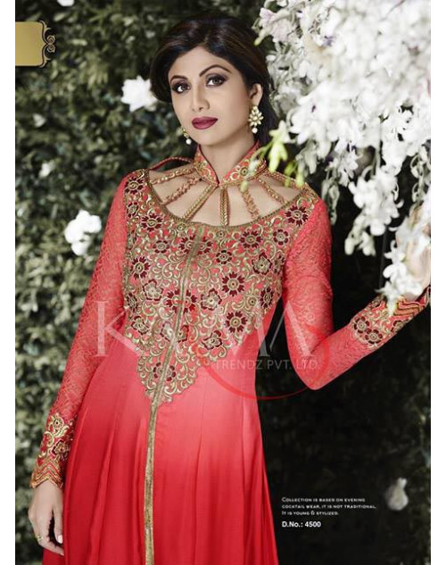 Shilpa Shetty Maroon Satin Floor Length Dress Materials