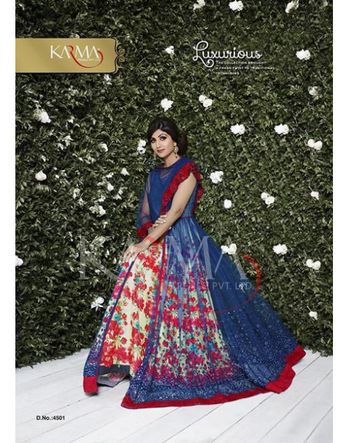 Shilpa Shetty Red Soft Net and Crepe Floor Length Dress Materials