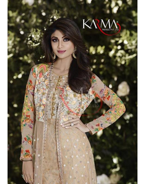Shilpa Shetty Beige Soft Net and Crepe Floor Length Dress Materials